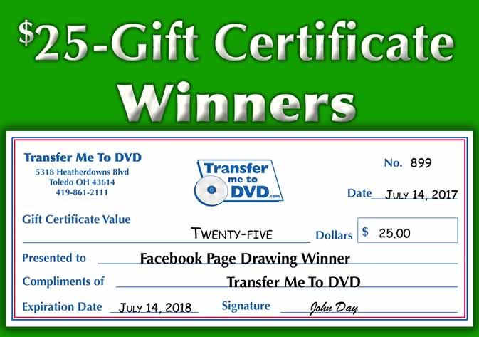 Winners of our $25 Gift Certificate Give-Away