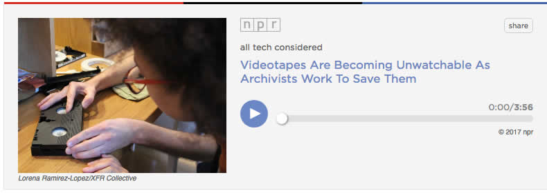 NPR Audio article on Magnetic Tape deteriorating rapidly