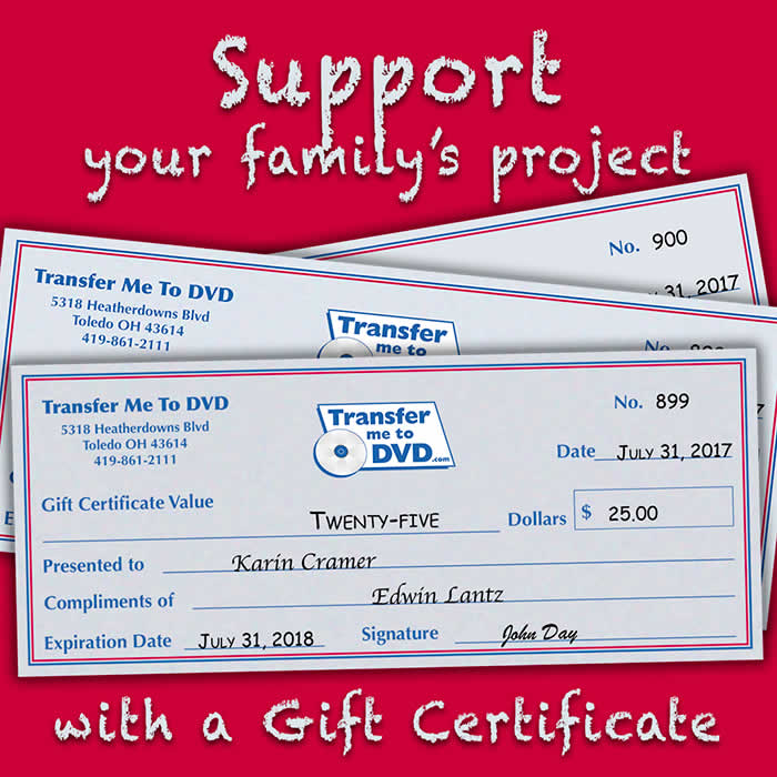 Gift Certificate for Digital Services from Transfer Me To DVD