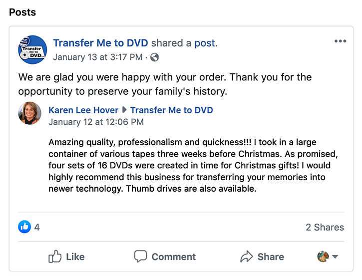 Customer Review from Facebook